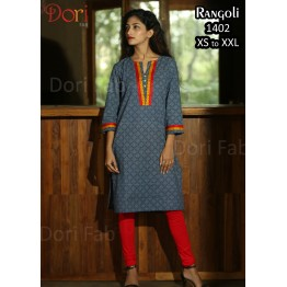 Indigo blue with white dotted Straight Kurti