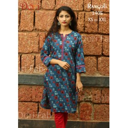 Indigo Blue Printed Straight Kurti