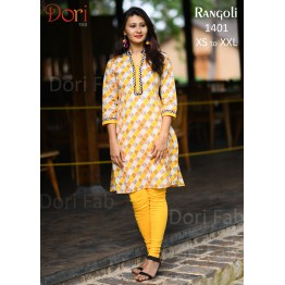 Yellow White Printed Straight Kurti
