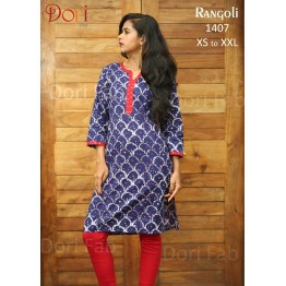 Purple Printed Straight Kurti