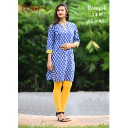 Blue Printed Straight Kurti