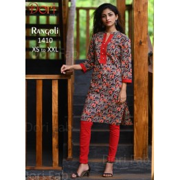 Black Red Printed Straight Kurti